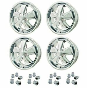 Set Of 4 17 X 7 Porsche 5 Lug Chrome Empi 911 Alloy Wheels Lugs