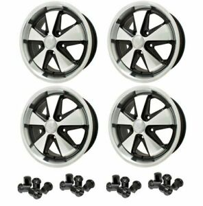 Set Of 4 17 X 7 Porsche 5 Lug Silver black Empi 911 Alloy Wheels lugs