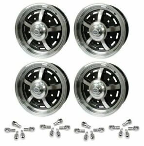 Set Of 4 15 X 5 Vw Bug 5 Lug Black Empi Sprint Star Wheels Lug Nuts