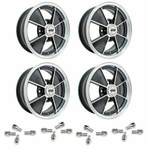 Set Of 4 15 X 5 1 2 Vw Bug 4 Lug Black Empi Brm Wheels Lug Bolts