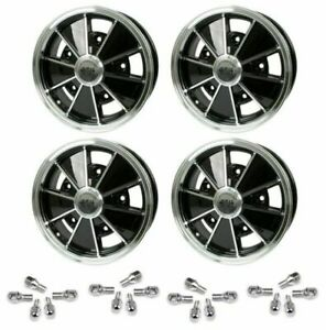 Set Of 4 15 X 5 Vw Bug 5 Lug Black Empi Brm Wheels Lug Bolts