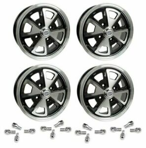 Set Of 4 15 X 5 1 2 Porsche 4 Lug Empi 914 Alloy Wheels Lug Nuts