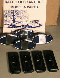 1928 1931 Model A Ford Ratrod Streetrod Bumper Clamp Ss Set 4 W backplates