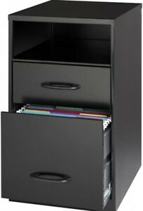 Black Two drawer Steel Vertical File Cabinet Compact Home Office Storage Unit