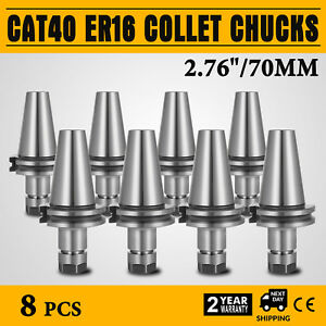 8pcs 2 76 Cat40 er16 Collet Chucks Tool Holder Set Cnc Tested Free Shipping