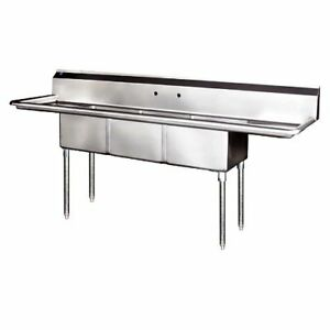 Stainless Steel 3 Compartment Sink 90 X 24 With 2 Drainboards