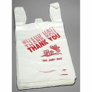 1000ct Large T shirts Carry out Thank You Bags 11 5 X 6 25 X 21 13 Micron