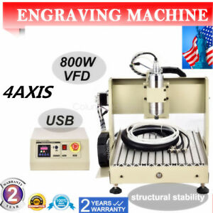 4axis 3040t Usb 800w Cnc Vfd Router 3d Carving Machine Engraver Drilling Cutter