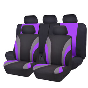New 11pcs Automobile Universal Fit Car Seat Covers 40 60 50 50 Split Purple
