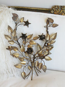 Antique Italian Tole Gilt Wall Sconces Gorgeous Patina Roses Gorgeous