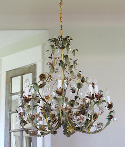 Incredible Xlrg Italian Tole Floral Chandelier Stunning My Fav