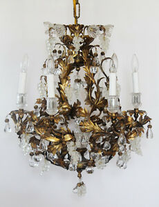 Rare Art Glass Maison Bagues Incredible Antique Murano Tole Gold Chandelier