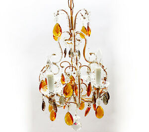 Antique Macaroni Beaded Italian Chandelier Vintage Gold Silver Crystals