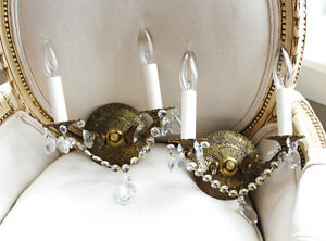 Antique Brass Pair Crystal Wall Sconces