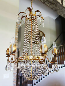 Antique Italian Tole Macaroni Beaded Empire Chandelier Rare