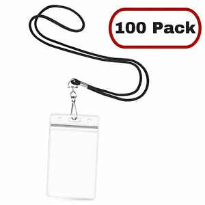 Mifflin 100 Black Paired Lanyards Vertical Id Badge Holders Woven Round