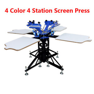 New Model Screen Printing Press 4 Color Double Rotary Printer Diy Machine