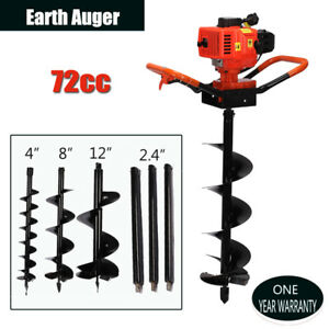 72cc Gas Powered 4hp Power Engine Post Hole Digger 4 8 10 Earth Auger Bits