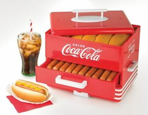 Nostalgia Electric Vintage Coca Cola Classic Retro Hot Dog Steamer Bun Warmer