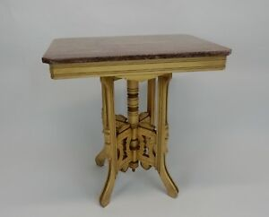 Restored Victorian Marble Top Walnut Parlor Lamp Table 28 5