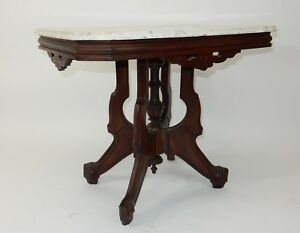 Large Victorian Eastlake Marble Top Walnut Parlor Lamp Table 32
