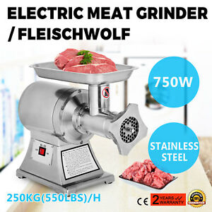 1hp Electric Commercial Mincer Meat Sauage Grinder W 5 Plates Powerful 250kg h