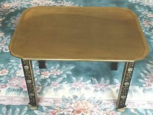 Vtg Baker Server Table Fixed Brass Top Stenciled Flowered Legs Elegant Look