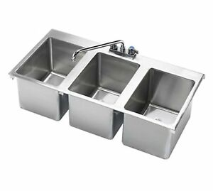 Stainless Steel 3 Compartment Drop in Sink 37 X 19 Nsf Certified
