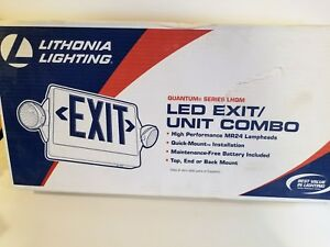 New Lithonia Lhqm s w 3 r m4 Emergency Exit Sign Combo Led 2 Headed