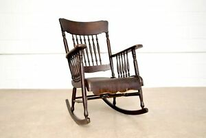 Antique Rocking Chair Victorian Smith Day Co Wood Spindleback Bentwood Seat