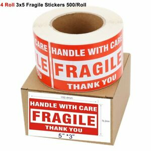 2000 4 Rolls 500 roll Large 3x5 Fragile Stickers Handle With Care Shipping Label