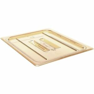 Cambro 60hpch150 H pan Cover 1 6 Size Flat With Handle Amber Case Of 6