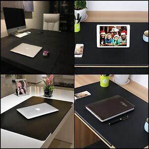 Desk Pads Synthetic Leather Laptop Mat W Fix Lip Office Home Rectangular Black