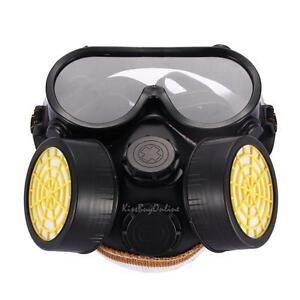 Industrial Gas Chemical Anti dust Paint Full Face Respirator Mask Goggles Set