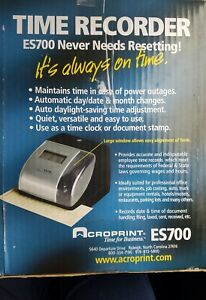 New Acroprint Es700 Time Date Employee Recorder Clock