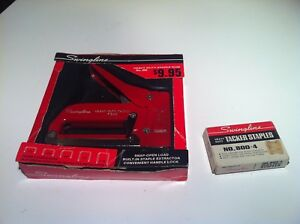 Vintage Swingline Heavy Duty Staple Gun red 800 With Box And Staples