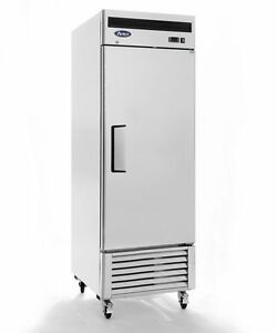 New 23cf 1 Door Stainless Reach In Refrigerator Cooler Casters Free Liftgate