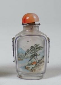 China Chinese Reverse Paint Glass Floral Landscape Decor Snuff Bottle Ca 20th C