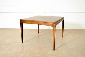Mid Century Coffee Table Lane Solid Walnut Wood Square Cocktail Table Vintage
