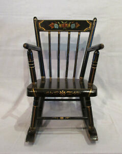 Vintage Child S Spindle Back Black Rocker With Hitchcock Style Stenciling Sturdy