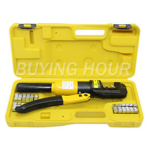 Hydraulic Plier Wire Battery Cable Lug Crimper Crimping Tool 9 Dies 10 Ton