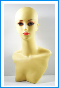 Display Female Fiberglass Mannequin Head Bust For Wig Jewelry And Hat Display