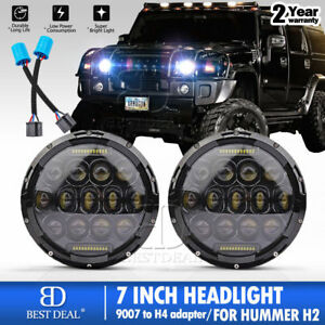 2x 7 Inch 150w Round Led Projector Headlights For Hummer H1 H2 9007 Adapter