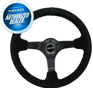 New Nrg Deep Disc Steering Wheel 350mm Black Suede Stitching Rst 036mb s bk