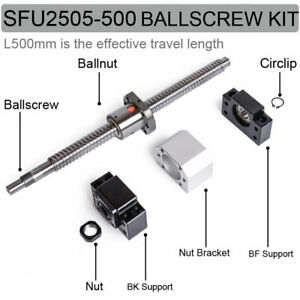 Travel 500mm Ballscrew Sfu2505 Ball Screw Ballnut end Support mount Bracket Kit