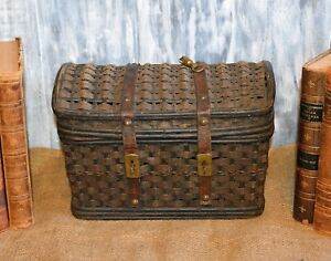 Antique French Woven Market Sewing Basket Purse Leather Straps Tooled Brass