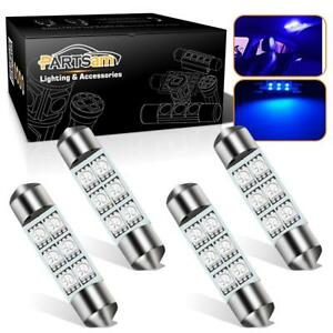 4x Blue Led 6 Smd Courtesy Interior Light Bulb Festoon Dome Lamp 36mm 6418 C5w