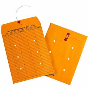String Tie Envelopes 1 Side Print 9 X 12 Inches Kraft 100 Per Carton