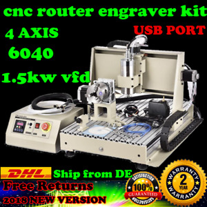 1 5kw Usb 6040 Cnc 4 Axis Router Engraver Spindle Milling Machine Free Shipping