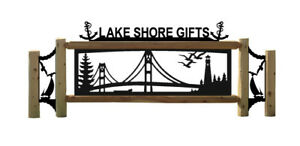Personalized Mackinac Bridge Sign Nautical Decor Sailboats Anchors